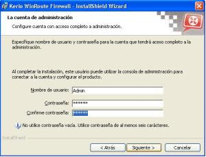 Password del administrador