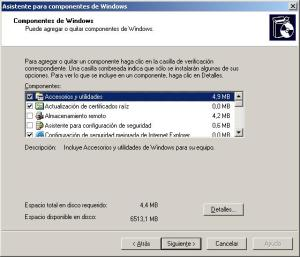 Asistente para componentes de Windows